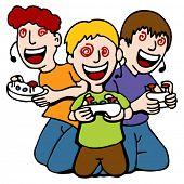 Uma imagem de três crianças hipnotizado ao jogar videogames.