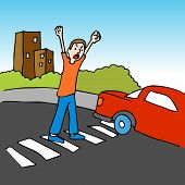 An image of a man shouting at a driver while crossing the street.