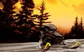 Snowmobile with pine trees at sunset