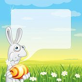 pic of easter bunnies  - Easter Bunny with Speech Balloon for your text - JPG