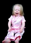 Cute Little Girl Crying On A Black Background poster