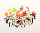 Happy Thanksgiving Day Logotype, Badge And Icon poster