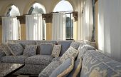 tower, luxury residential apartments, livingroom with ancient columns poster