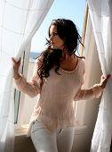 Beautiful brunette model at a beach house window