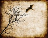 Tree and flying bird on a grungy textured background