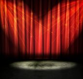 image of curtains stage  - Red curtains on a stage with sparkly lights - JPG