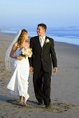 stock photo of wedding couple  - Loving wedding couple walking on the beach - JPG