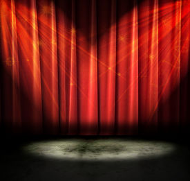 pic of curtains stage  - Red curtains on a stage with sparkly lights - JPG
