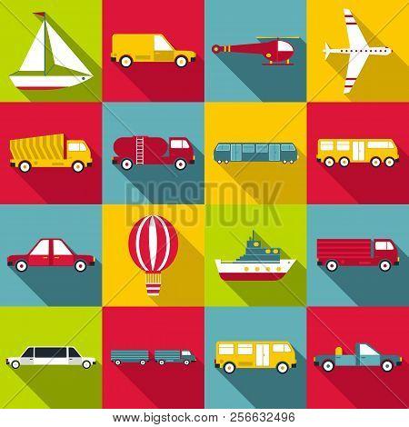 Transportation Items Icons Set Flat
