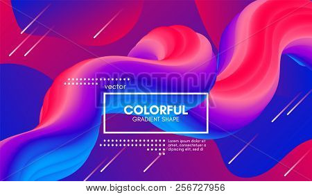 poster of Abstract Modern Background With Trendy Vibrant Gradient. Flow Shapes In Red And Blue Colors. 3d Back