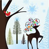 winter scene with bird and reindeer
