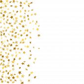 Gold Star Confetti Celebration Isolated On White Background. Falling Stars Golden Abstract Pattern D poster