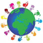 illustration of colorful happy children around the globe