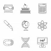 Scientific Research Icons Set. Outline Illustration Of 9 Scientific Research Icons For Web poster