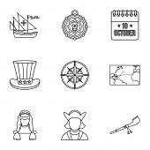 Discovery Of America Icons Set. Outline Illustration Of 9 Discovery Of America Icons For Web poster