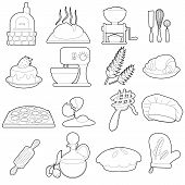 Bakery Production Icons Set. Outline Cartoon Illustration Of 16 Bakery Production Icons For Web poster