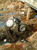 Car in river after the Tsunami, khao lak, Thailand