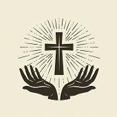 Christianity Symbol Of Jesus Christ. Cross, Worship Logo. Vintage Vector Illustration poster