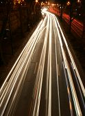 streaks of car lights on road
