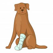 Dog With An Injured Leg Icon. Cartoon Illustration Of Dog With An Injured Leg Icon For Web poster