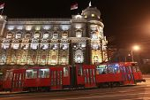 BELGRADE, SERBIA - APRIL 18 : Commuters return home on the old night tram on April 18, 2010 in Belgr