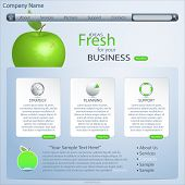 website template with green apple, vector