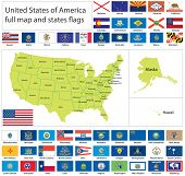 Raster version of United States of America states flags collection with full map (vector available).