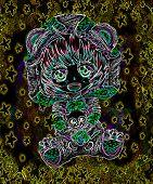 Kawaii Anime Girl Chibi Portrait In Neon Lights. poster