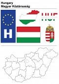 Hungary collection including flag, plate, map (administrative division), symbol, currency unit & coat of arms