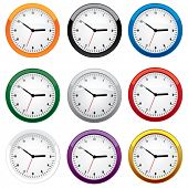 Clock set in different colors