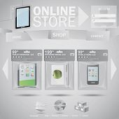 Online store web template concept with plastic bags