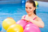 Relax, Spa Hotel, Wellness Concept. Woman Having Fun With Balloons In Water. Pretty Girl Relaxing At poster