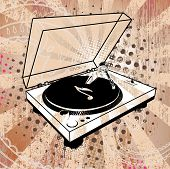 Record Player on Grunge Background