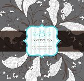 Vintage Floral Invitation with Label. Vector Illustration.
