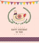 Happy Birthday Card Design - Cute Pigeon -Vector Illustration