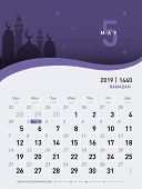 05 May Calendar 2019. Hijri 1440 To 1441 Islamic Design Template. Simple Minimal Desk And Wall Type  poster