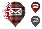 Post Office Marker Icon In Sparkle, Pixelated Halftone And Undamaged Solid Variants. Pieces Are Comp poster