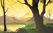 HILLSIDE SUNRISE BEAMING GOLDEN RAYS