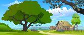 SLEEPY VILLAGE  HOUSES  AND HUGE TREE