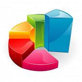 illustration of glossy bar graph on isolated background