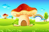 illustration of mushroom homes in beautiful meadow