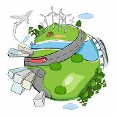 illustration of building,wind mill and tree around globe showing clean earth