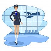 Abbildung der Stewardess in Flughafen-Lounge mit fliegenden Flugzeug