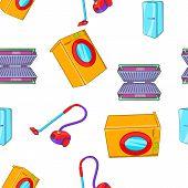Home Appliances Pattern. Cartoon Illustration Of Home Appliances Pattern For Web poster