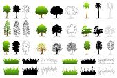 illustration of set of different tree on isolated background
