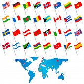 illustration of set of flag of different countries with world map