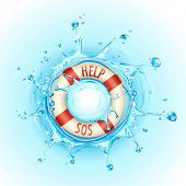 foto of sos  - illustration of lifebouy in pool of water with help and sos sign - JPG