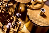 Gears And Clockwork Components Details, Concept Time And Horology, Golden Background poster