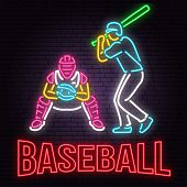 Neon Baseball Or Softball Sign On Brick Wall Background. Vector Illustration. Neon Style Design With poster
