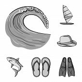 Surfing And Extreme Monochrome Icons In Set Collection For Design. Surfer And Accessories Vector Sym poster